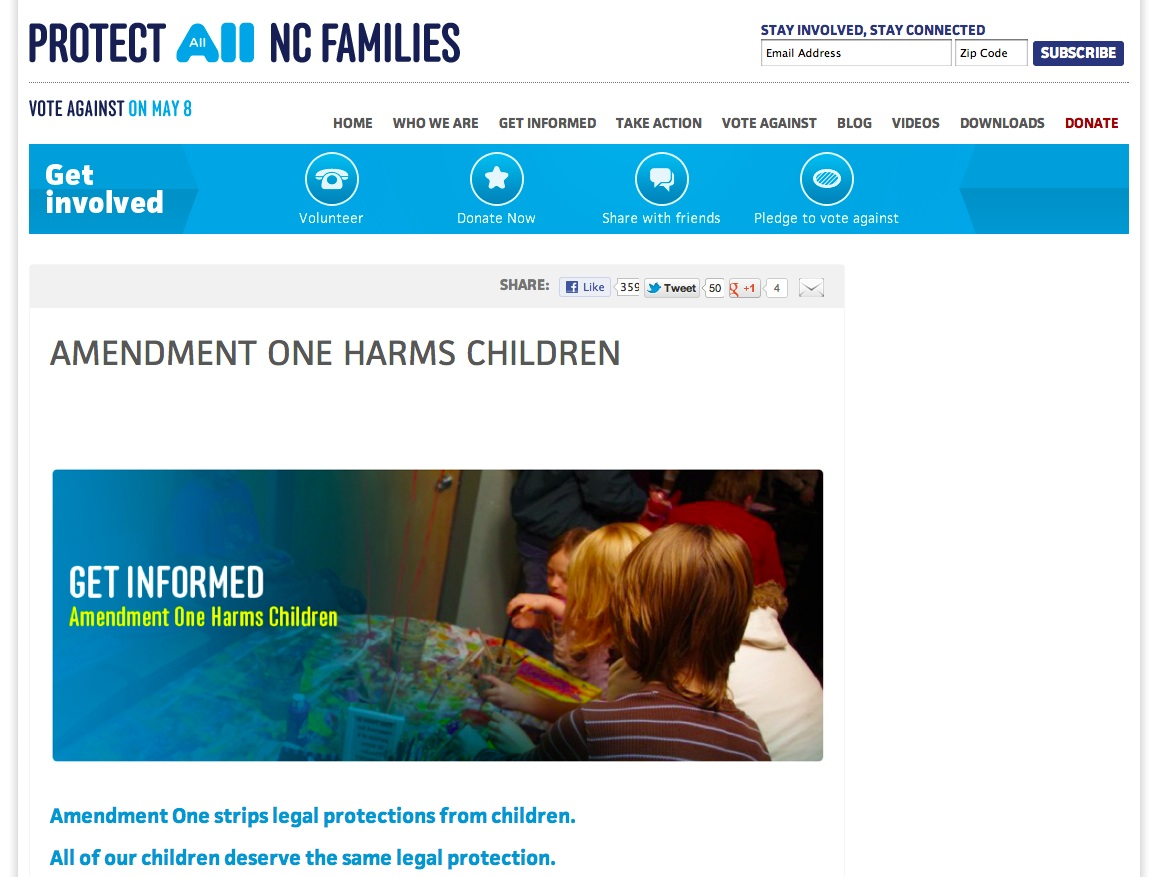 A1 harms children3 - Protect All NC Families - Vote Against Amendment One