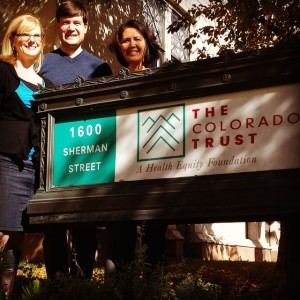 #npcommpix Day 24: #OurTeam - From left to right is @maggiefrasure, @juliankesner and @drdragon4 (Rachel Mondragon). We are the #communications team spreading the message that The Trust believes all Coloradans should have fair and equal opportunities to lead healthy, productive lives regardless of race, ethnicity, income or where we live. #healthequity